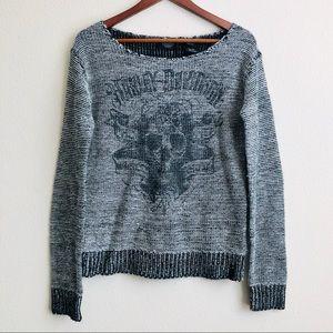 Harley Davidson Skull Print Knit Sweater - MEDIUM